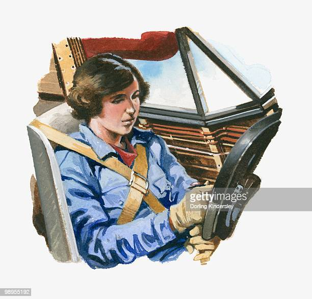 ilustraciones, imágenes clip art, dibujos animados e iconos de stock de illustration of amelia earhart sitting in cockpit of lockheed vega aeroplane - adulto de mediana edad