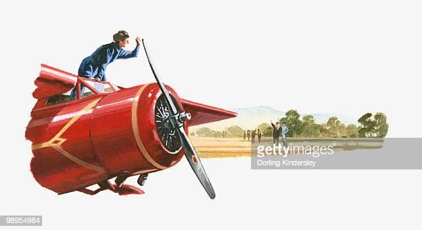 illustration of amelia earhart standing on red lockheed vega - mid adult stock illustrations