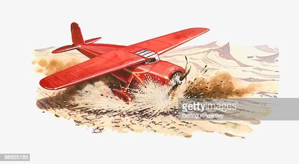 illustrations, cliparts, dessins animés et icônes de illustration of amelia earhart's lockheed vega crash landing in desert - catastrophe aérienne