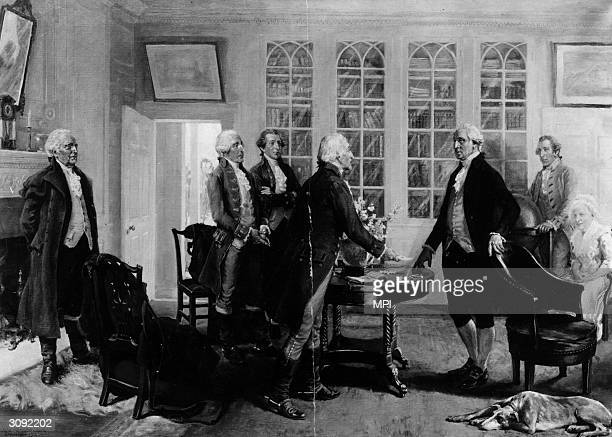 Illustration of American general and politician George Washington receiving the news of his election as the first American president 1789 Martha...
