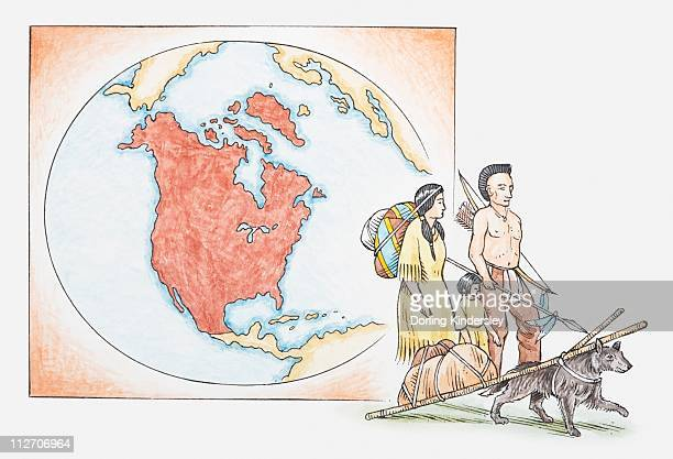 Illustration of American Indian family in front of a map of North America