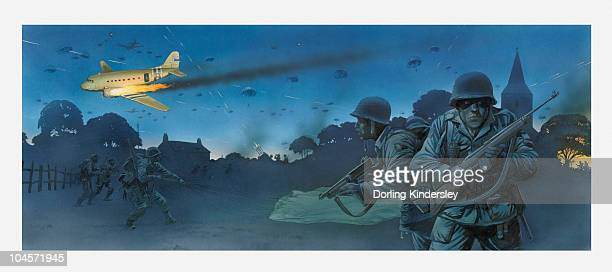 illustration of american soldiers in fields at night on d day and parachuting from aeroplane hit by enemy fire - d day stock illustrations