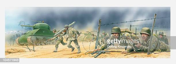 illustration of american soldiers invading the normandy beaches during world war two - normandy invasion stock illustrations, clip art, cartoons, & icons