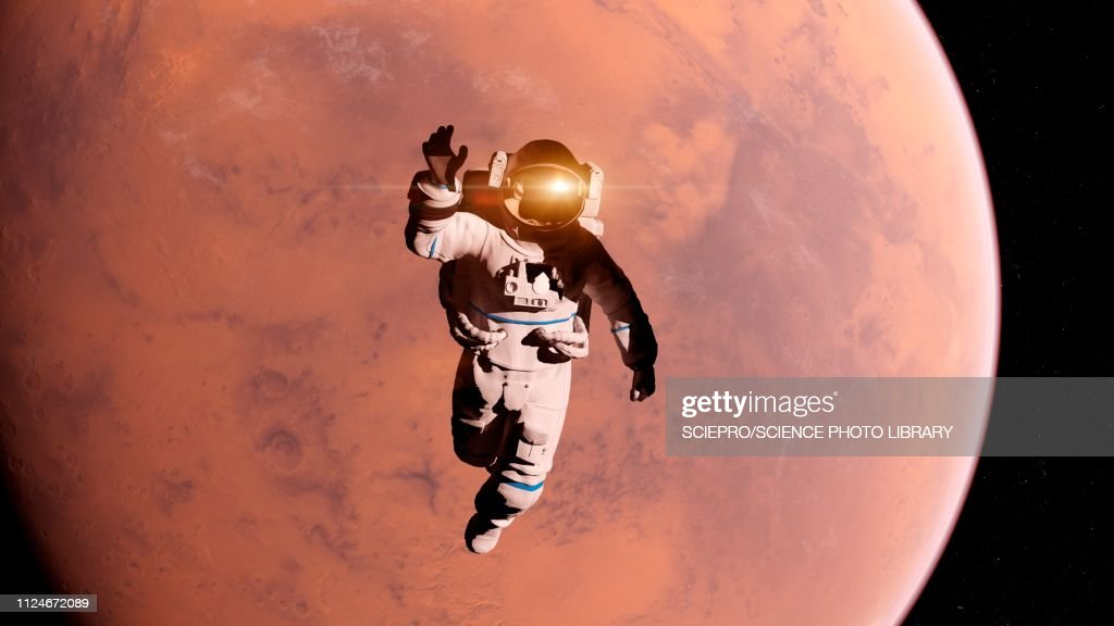 Illustration of an astronaut in front of Mars : stock illustration