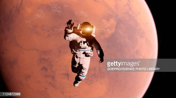 illustration of an astronaut in front of mars - planet space stock illustrations
