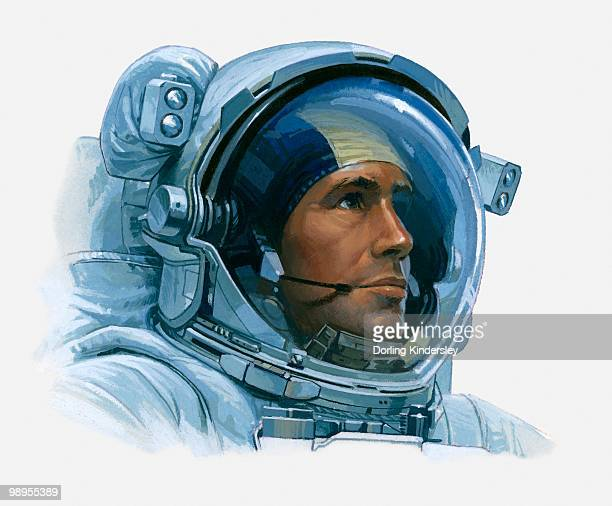 illustration of an astronaut's head inside helmet, close-up - space helmet stock illustrations