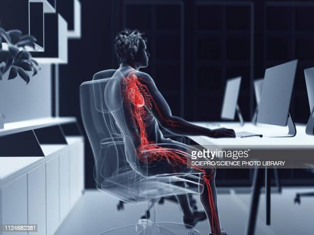 ilustraciones, imágenes clip art, dibujos animados e iconos de stock de illustration of an office worker's verticalascular system - cardiólogo