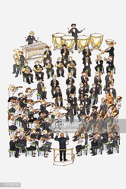 illustration of an orchestra - orchestra stock illustrations, clip art, cartoons, & icons