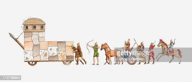 illustration of ancient assyrian army, battering ram pushed by men, followed by archers, a war chariot, foot soldiers and archer on horseback - ram animal stock illustrations, clip art, cartoons, & icons