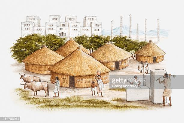 illustration of ancient east african city of axum showing people working marble in the foreground, conical grass huts, and royal palace in background - grass hut stock illustrations