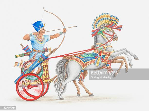 Illustration of ancient Egyptian archer on chariot
