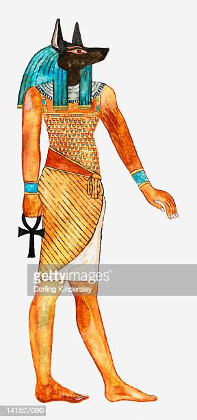 Illustration of Ancient Egyptian god of the dead Anubis holding symbol of Anhk