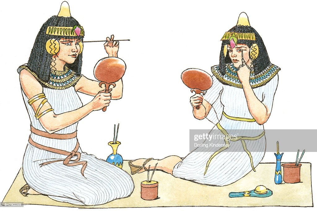 Illustration of ancient Egyptian women looking in mirrors to apply make-up : stock illustration