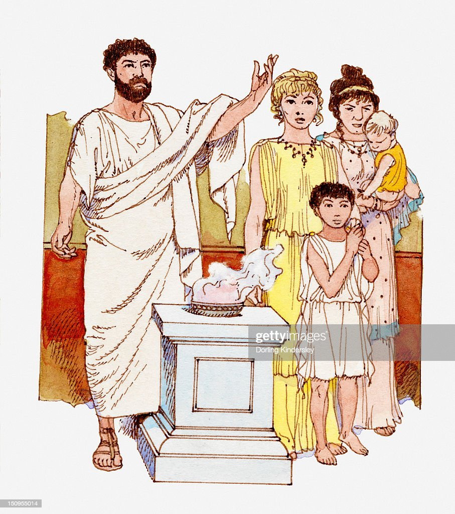Illustration of ancient greek family worshipping at altar for Costumbres de grecia
