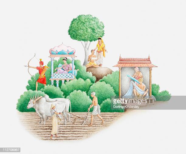 illustration of ancient indian caste system showing brahmans, kshatriyas, vaishya, and sudras - warrior person stock illustrations, clip art, cartoons, & icons