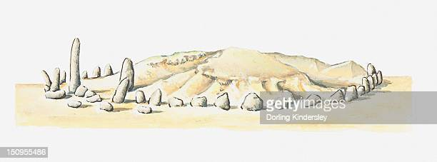 illustration of ancient stone circle and tumulus at msoura, morocco - megalith stock illustrations, clip art, cartoons, & icons