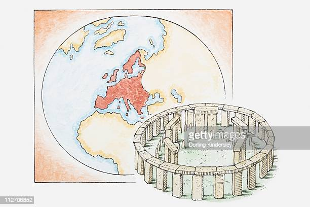 Illustration of ancient stone circle in front of a map of Europe