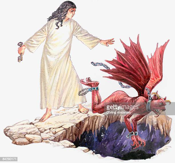 Illustration of angel looking on as red dragon with seven head disappears through hole in Earth