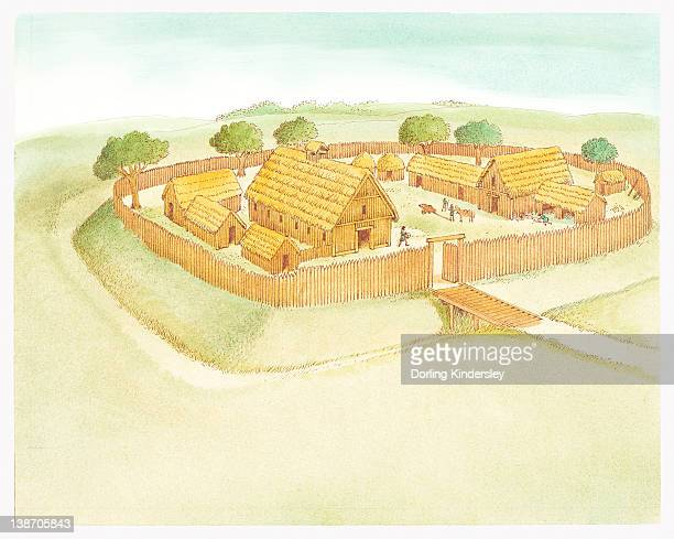 Illustration of Anglo-Saxon village surrounded by high wooden fence, and moat