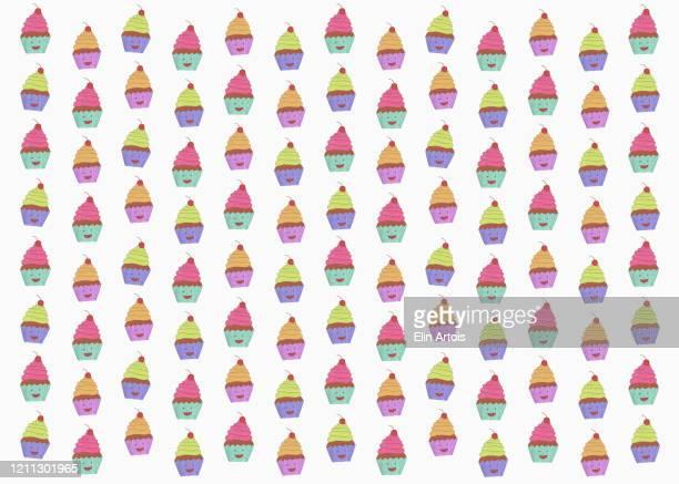 illustration of anthropomorphic cupcakes on white background - cake stock illustrations