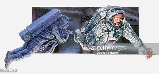 illustration of apollo 11 and astronauts, 1969 - 1969 stock illustrations