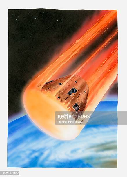 illustration of apollo 11 command module entering earth's atmosphere  - 1969 stock illustrations