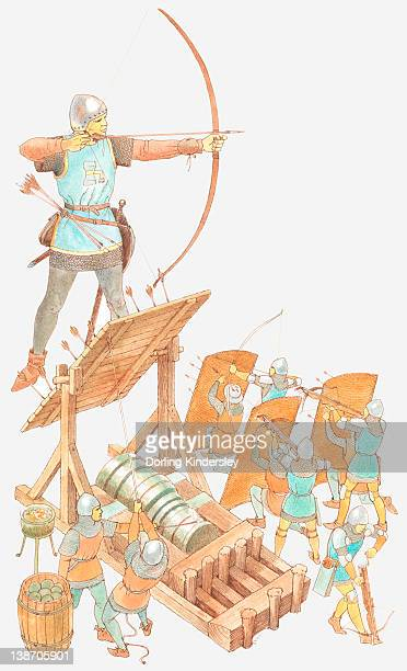 Illustration of archer with longbow, archers with shields, and cannon during Hundred Years' War