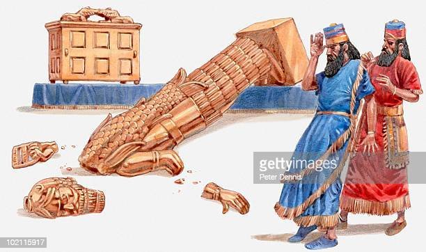 illustration of ark of covenant bringing plague and destruction to philistine cities, book of samuel - 聖約の箱点のイラスト素材/クリップアート素材/マンガ素材/アイコン素材