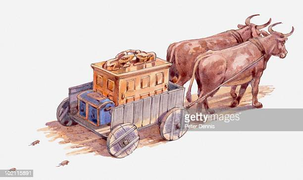illustration of ark of the covenant being sent away by the philistines, on cart without driver, cows pulling it straight towards an israelite town, book of samuel - 聖約の箱点のイラスト素材/クリップアート素材/マンガ素材/アイコン素材