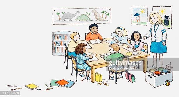 illustration of art class in classroom - exercise book stock illustrations