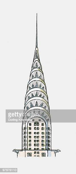 illustration of art deco vertex of new york's chrysler building - chrysler building stock illustrations, clip art, cartoons, & icons