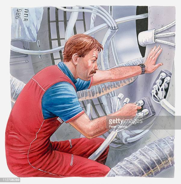 Illustration of astronaut fixing cables on MIR space station