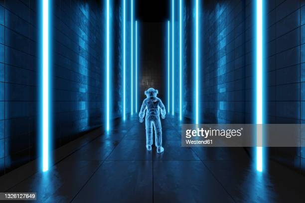 3d illustration of astronaut in frozen dark alien environment - exploration stock illustrations