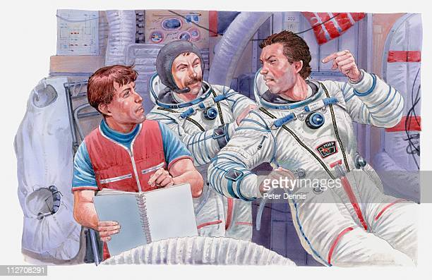 Illustration of astronauts in discussion with each other, MIR Space Station