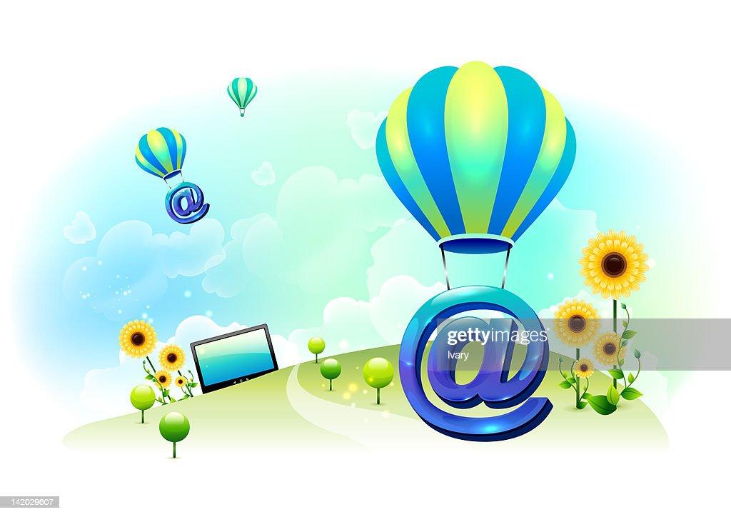 Illustration Of At Symbol With Hot Air Balloon Stock Illustration