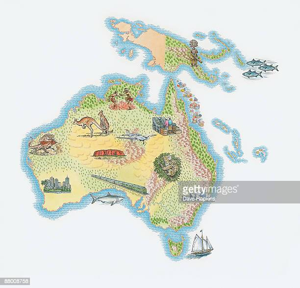 illustration of australia, tasmania, solomon islands, and papua new guinea, showing fauna, flora and international landmarks - sydney opera house stock illustrations