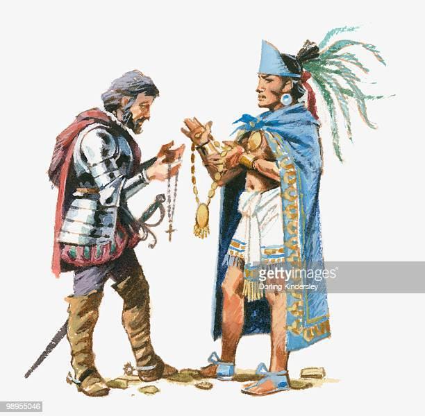 Illustration of Aztec King Moctezuma exchanging gifts with Cortes