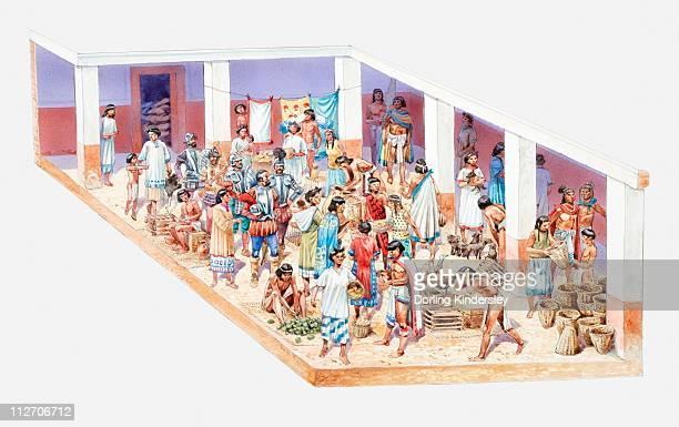 ilustrações, clipart, desenhos animados e ícones de illustration of aztec market on tenochtitlan - asteca