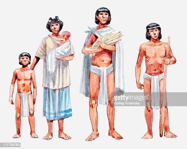 ilustrações, clipart, desenhos animados e ícones de illustration of aztec slave family - asteca