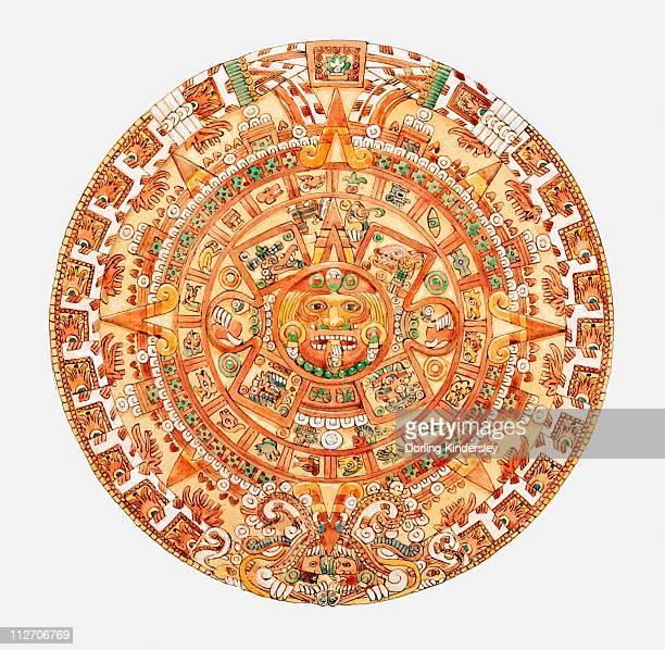 ilustrações, clipart, desenhos animados e ícones de illustration of aztec sun stone - asteca