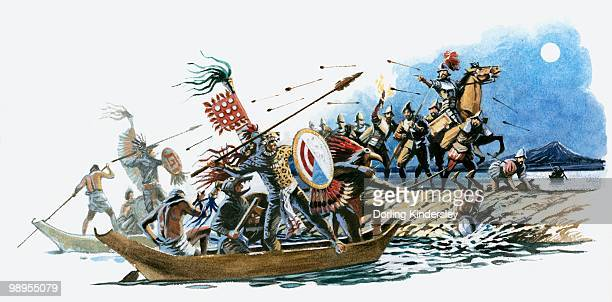illustration of aztec warriors offshore in canoes and cortez on land throwing spears at each other - aztec stock illustrations