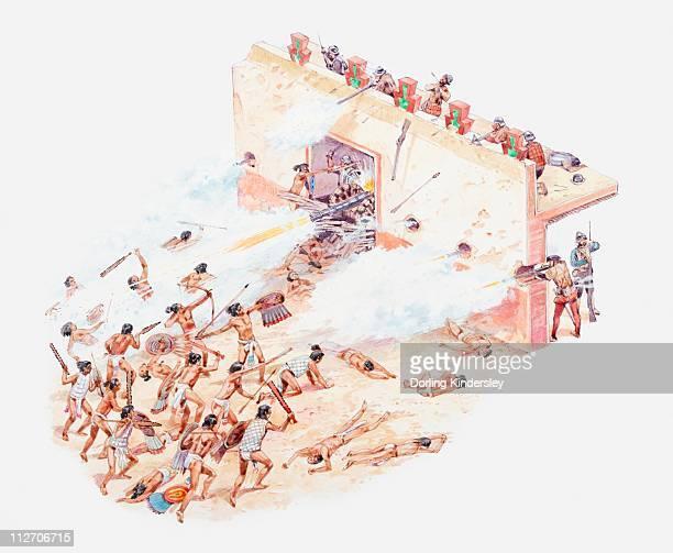 ilustrações, clipart, desenhos animados e ícones de illustration of aztecs attacking the spaniards at palace of moctezuma - asteca