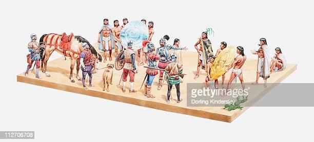 ilustraciones, imágenes clip art, dibujos animados e iconos de stock de illustration of aztec's greeting the spanish conquistadors, giving them gold and other gifts from moctezuma, 1519 - cultura española
