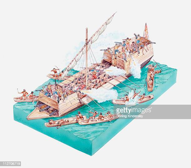 Illustration of Aztecs in canoes attacking Spanish ship on Lake Texcoco