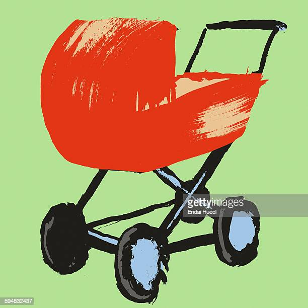 illustration of baby carriage against green background - baby carriage stock illustrations
