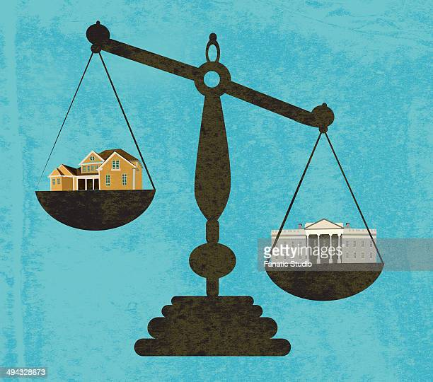 illustration of bank and house in weight scale - subprime loan crisis stock illustrations