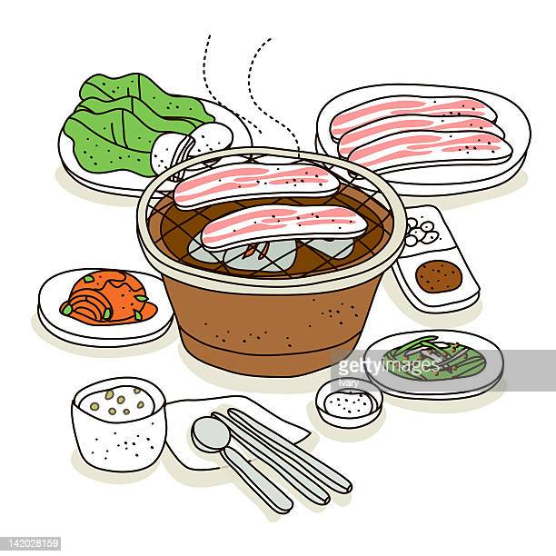 illustration of barbecue grill - chopsticks stock illustrations, clip art, cartoons, & icons