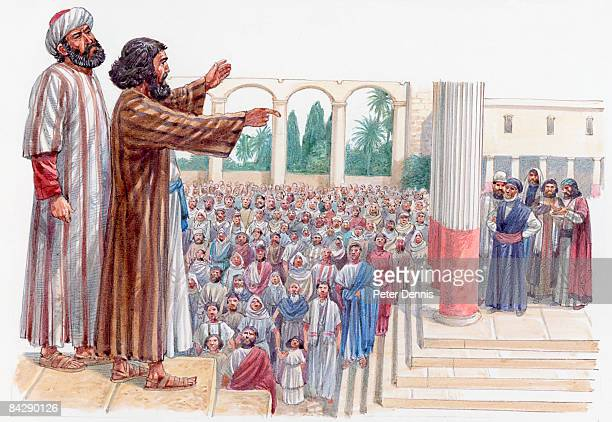 Illustration of Barnabas standing behind Paul in Pisidian Antioch synagogue preaching to crowd below