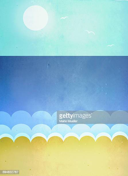 illustration of beach on sunny day - close to stock illustrations