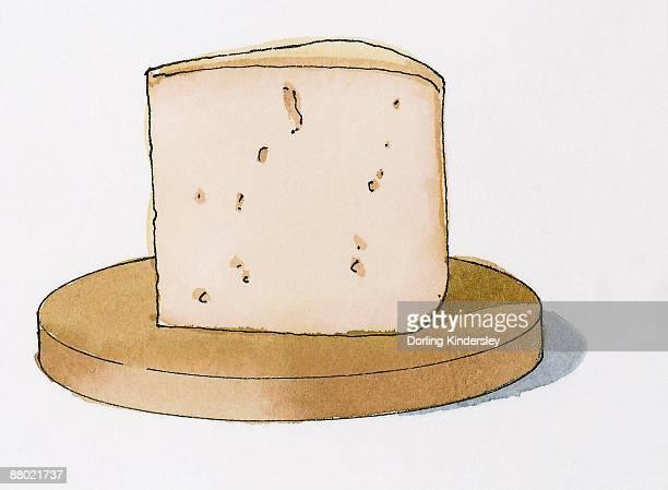 illustration of bergama tulum cheese from turkey - bergama stock illustrations